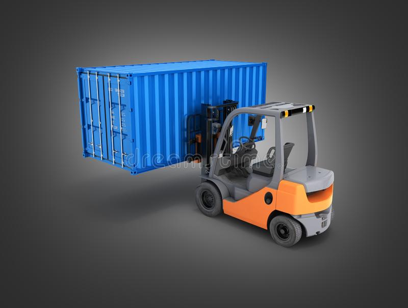 Forklift handling the cargo shipping container isolated on black gradient background 3d render. Forklift handling the cargo shipping container isolated on black stock illustration
