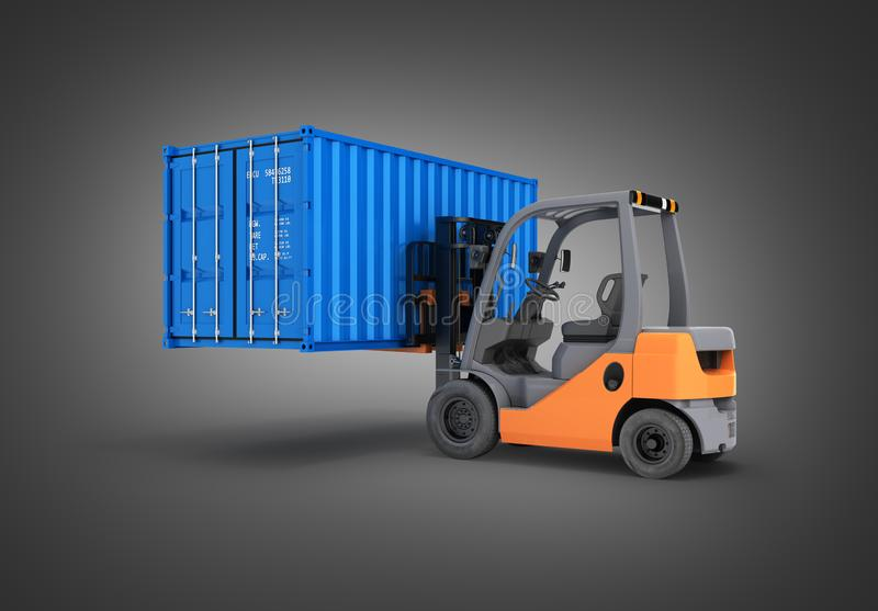 Forklift handling the cargo shipping container isolated on black gradient background 3d render royalty free illustration