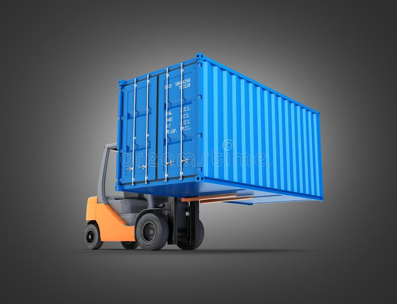 Forklift handling the cargo shipping container isolated on black gradient background 3d render. Forklift handling the cargo shipping container isolated on black royalty free illustration