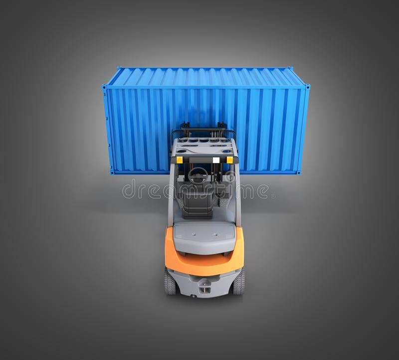 Forklift handling the cargo shipping container isolated on black gradinet background 3d render. Forklift handling the cargo shipping container isolated on black royalty free illustration