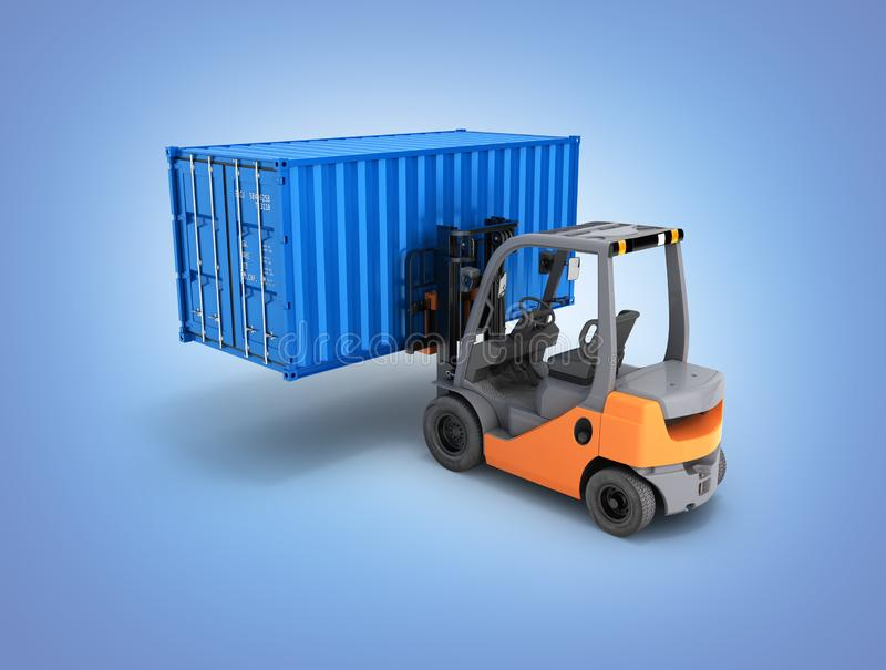 Forklift handling the cargo shipping container isolated on blue gradient background 3d render. Forklift handling the cargo shipping container isolated on blue vector illustration