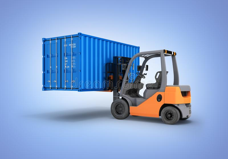Forklift handling the cargo shipping container isolated on blue gradient background 3d render vector illustration