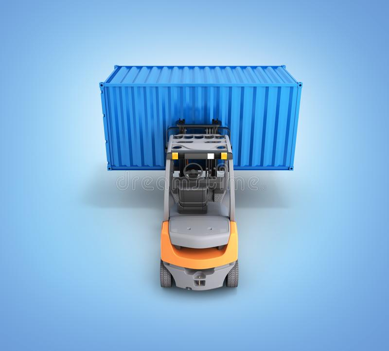 Forklift handling the cargo shipping container isolated on blue gradinet background 3d render. Forklift handling the cargo shipping container isolated on blue stock illustration
