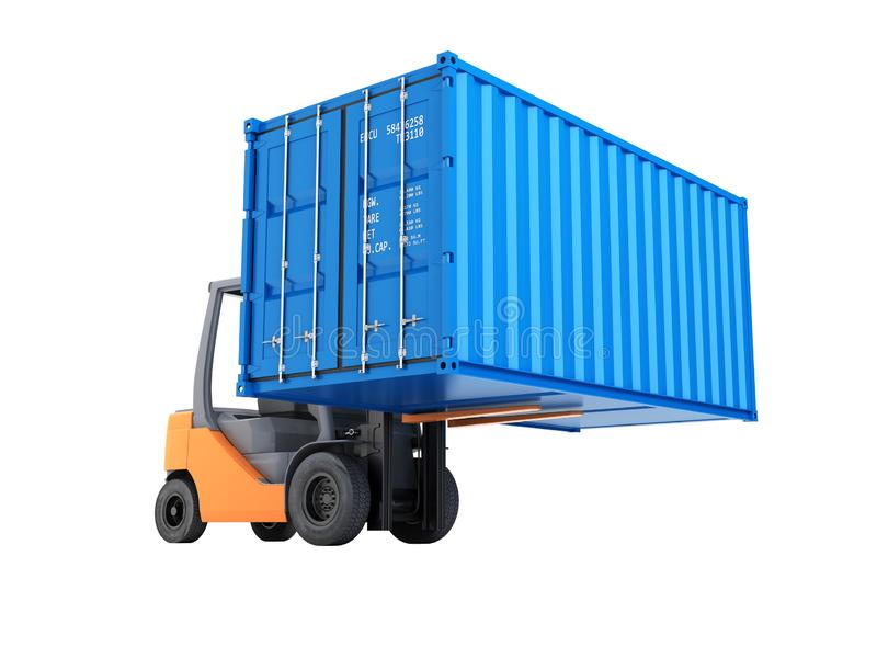 Forklift handling the cargo shipping container isolated on white background 3d render without shadow. Forklift handling the cargo shipping container isolated on vector illustration