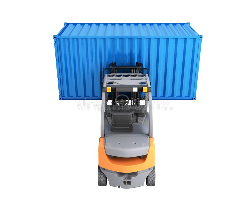 Forklift handling the cargo shipping container isolated on white background 3d render without shadow. Forklift handling the cargo shipping container isolated on royalty free illustration