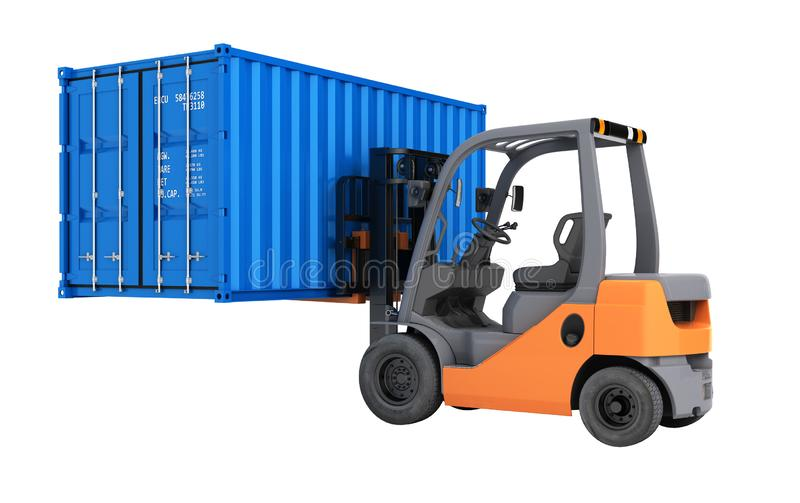 Forklift handling the cargo shipping container isolated on white background 3d render without shadow stock illustration
