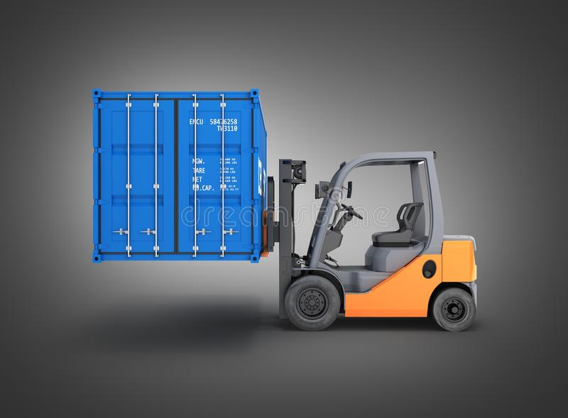 Forklift handling the cargo shipping container side view isolated on black gradient background 3d render vector illustration