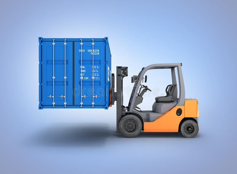 Forklift handling the cargo shipping container side view isolated on blue gradient background 3d render. Forklift handling the cargo shipping container side view vector illustration