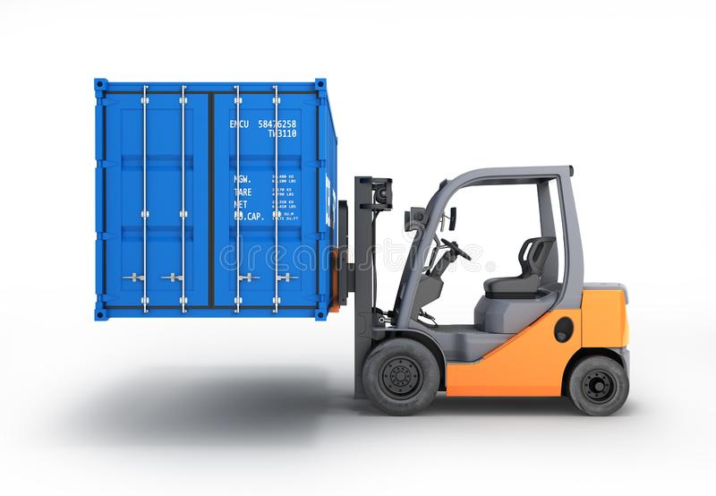 Forklift handling the cargo shipping container side view isolated on white background 3d render vector illustration