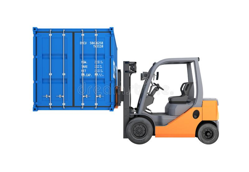 Forklift handling the cargo shipping container side view isolated on white background 3d render without shadow stock illustration