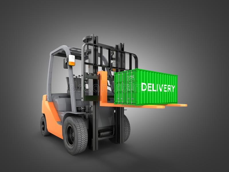 Forklift handling small cargo shipping container isolated on black gradient background 3d render. Forklift handling small cargo shipping container isolated on royalty free illustration