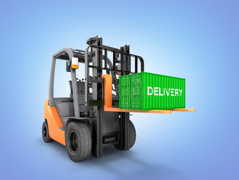 Forklift handling small cargo shipping container isolated on blue gradient background 3d render vector illustration