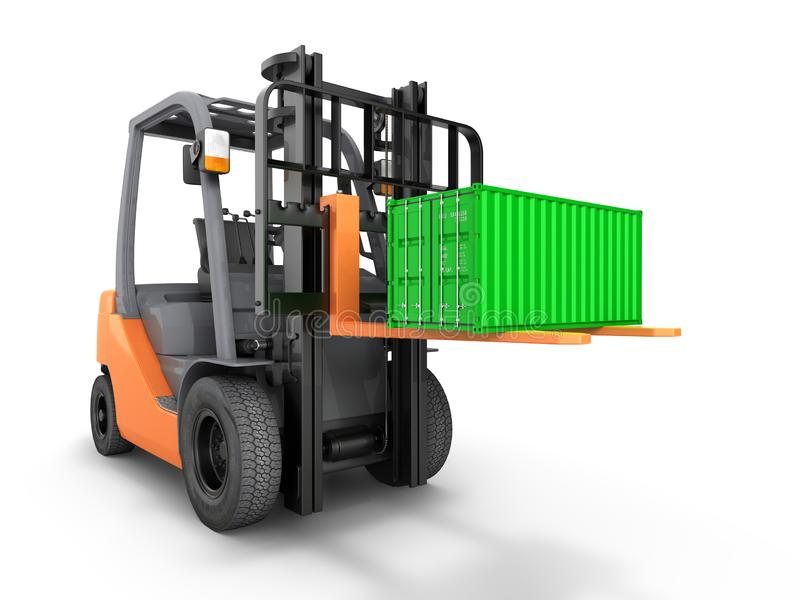 Forklift handling small cargo shipping container isolated on white background 3d render. Forklift handling small cargo shipping container isolated on white vector illustration
