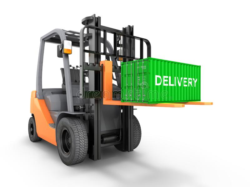 Forklift handling small cargo shipping container isolated on white background 3d render vector illustration