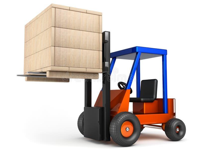 Forklift hoist wooden box. Forklift lift up wooden box on white background vector illustration