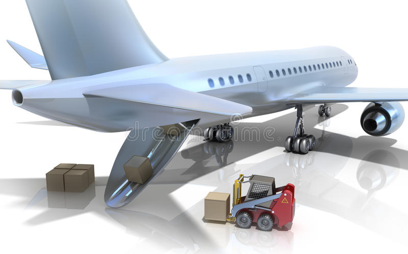 Forklift is loading the airplane stock illustration