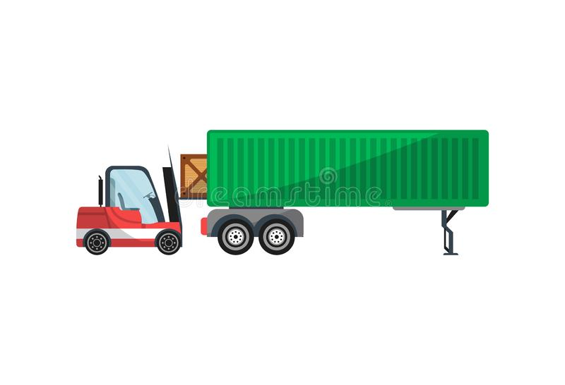 Forklift loading freight truck isolated icon. Warehouse goods distribution, shipping company, cargo delivery and logistics illustration royalty free illustration