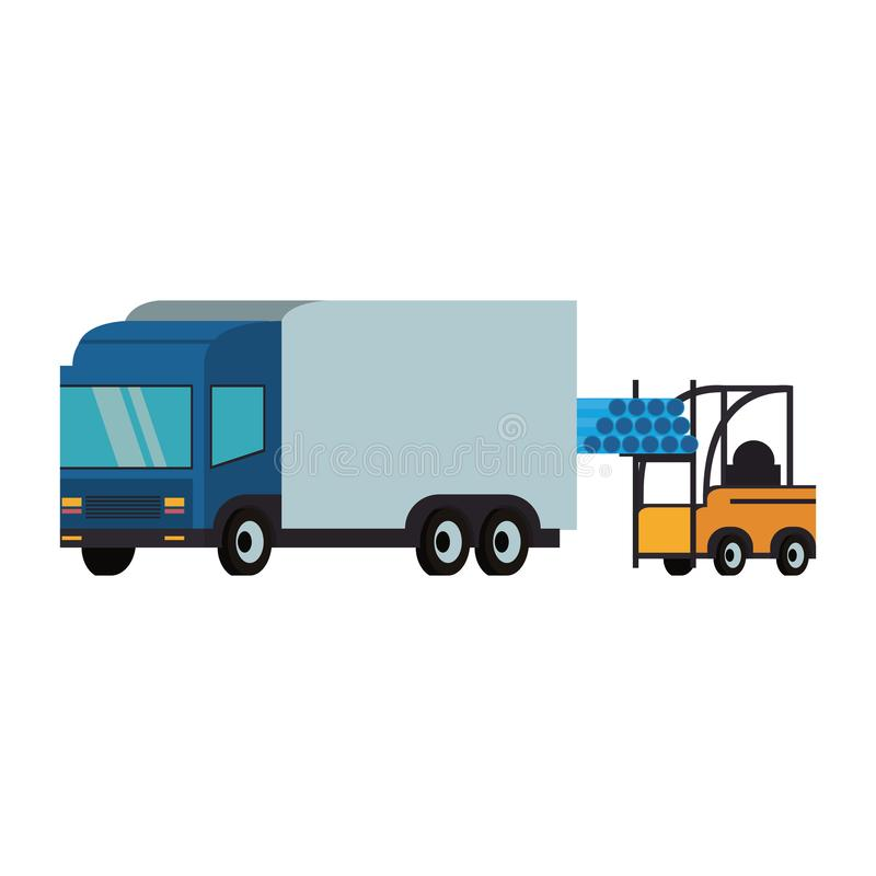 Forklift loading pvc pipe in cargo truck vector illustration