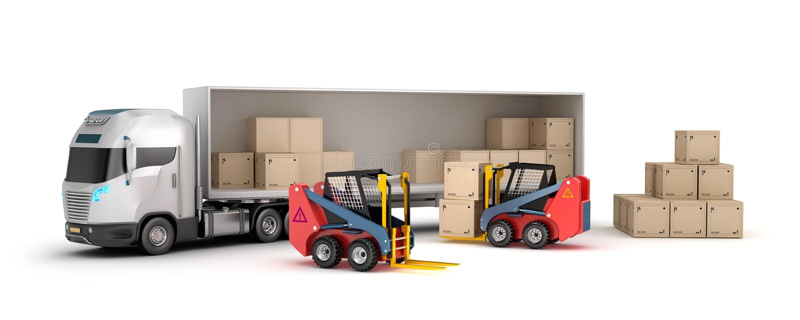 Forklift is loading the truck vector illustration