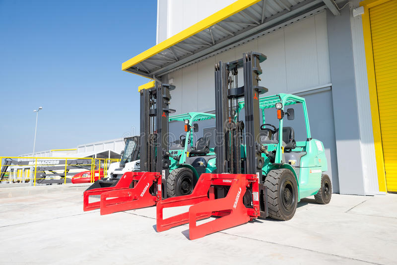 Forklift machines in recycling waste to energy factory royalty free stock photos