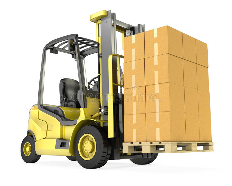 forklift ofboxes sterty ciężarówki kolor żółty ilustracja wektor