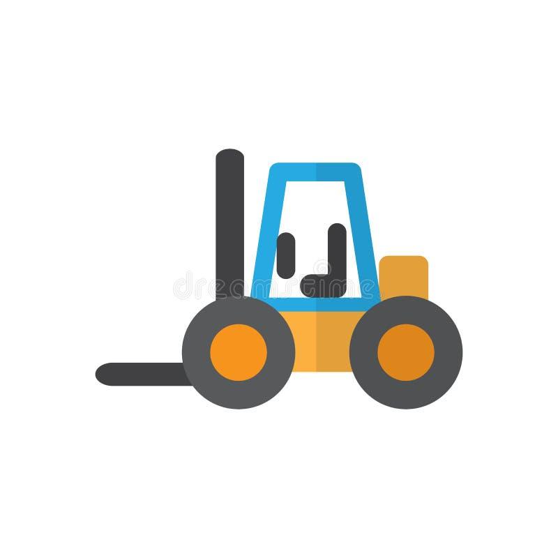 Forklift płaska ikona, wypełniający wektoru znak, kolorowy piktogram odizolowywający na bielu ilustracji