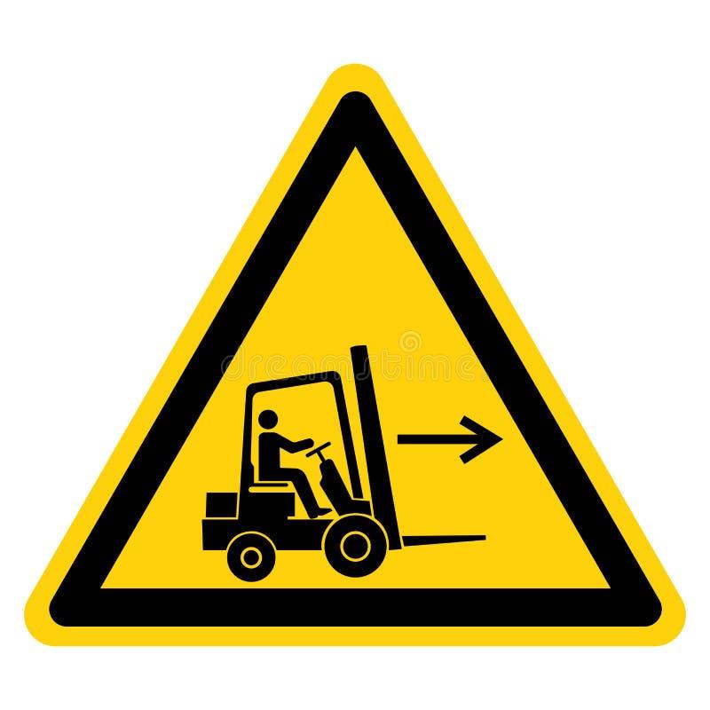 Forklift punktu prawicy symbolu znak Odizolowywa Na Białym tle, Wektorowa ilustracja royalty ilustracja