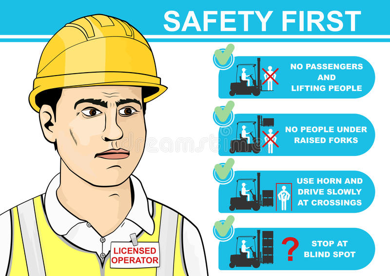 Forklift safety. royalty free illustration