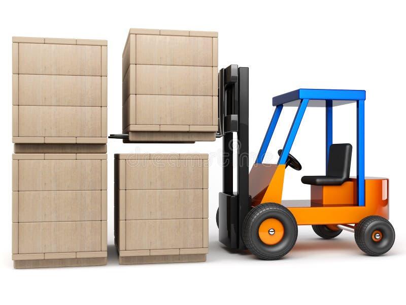 Forklift stack boxes. Forklift stack wooden boxes in pile on white background vector illustration