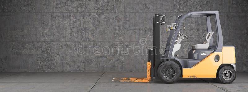 Forklift truck στη βιομηχανική βρώμικη ανασκόπηση τοίχων στοκ φωτογραφία