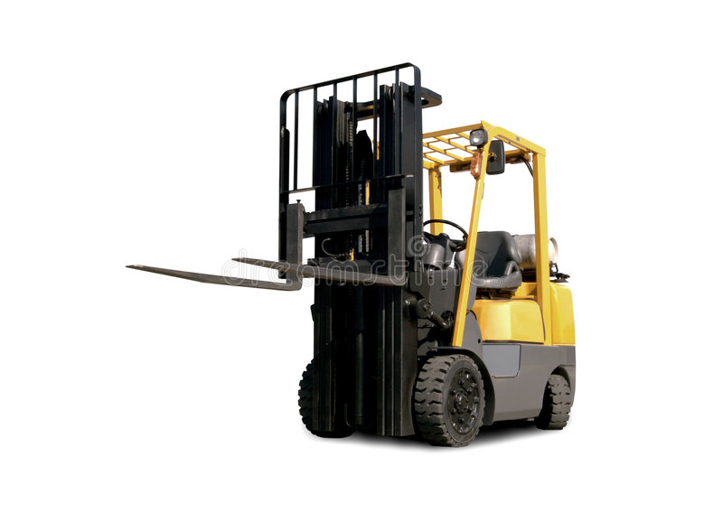 Forklift Truck. A forklift truck on white background stock photos