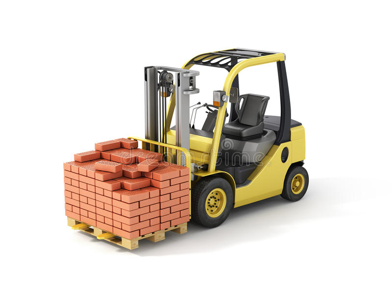 Forklift truck with bricks. Isolated on white background vector illustration