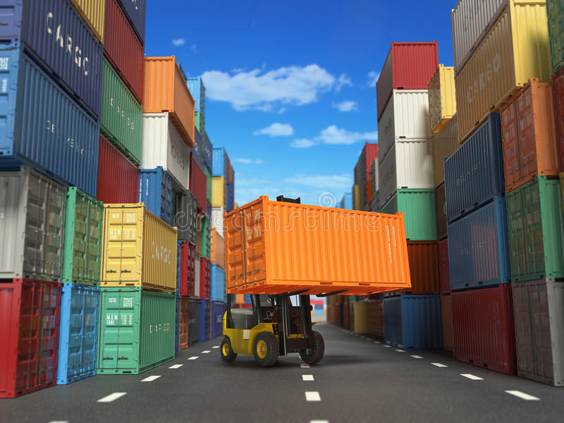Forklift truck with cargo container in shipping yard with containers. Delivery shipping logistic import export industrial concept. royalty free illustration