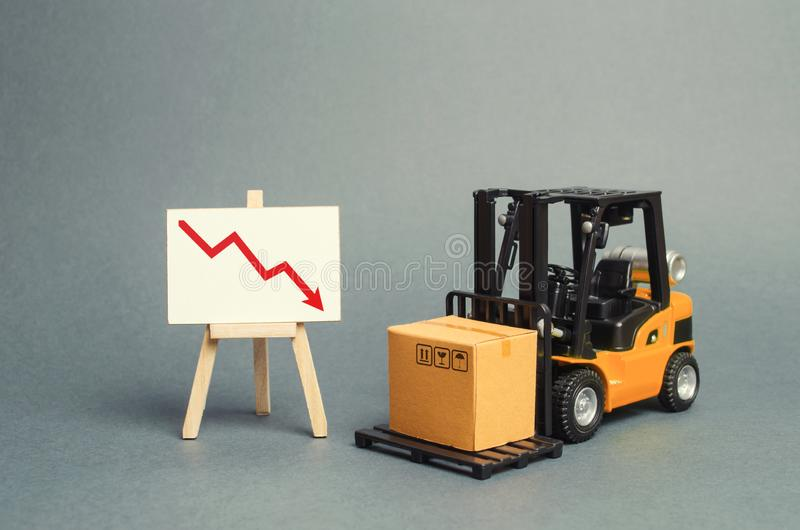 Forklift truck carries a cardboard box near a stand with a red arrow down. decline in the production of goods and products royalty free stock images