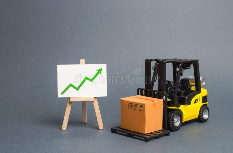 Forklift truck carries a cardboard box and a sign with green a arrow up. Retail, resale, sales of products. Growth and stability. Of the economy. Profit growth stock photo