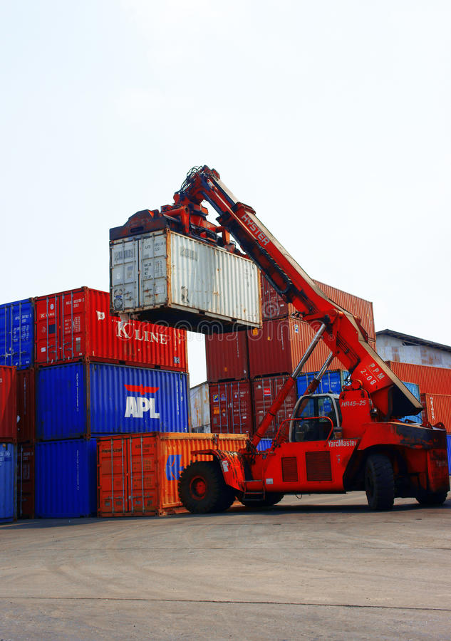 Forklift truck, container,Vietnam freight depot stock photography