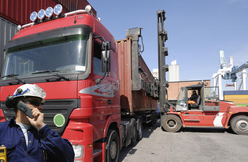 Forklift, truck and containers royalty free stock images
