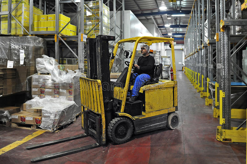 Forklift truck driver stock photography
