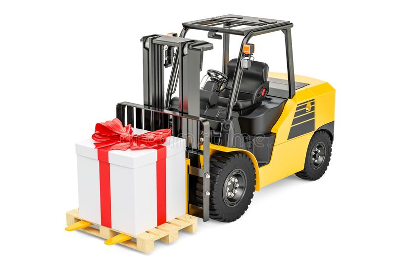 Forklift truck with gift box. Gift delivery concept, 3D rendering royalty free illustration