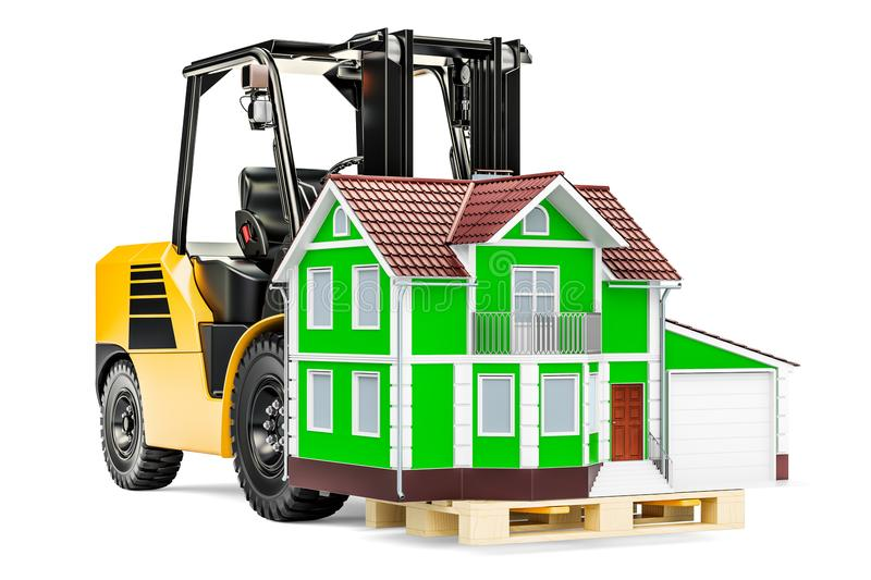 Forklift truck with house. Residential Moving concept, 3D render stock illustration