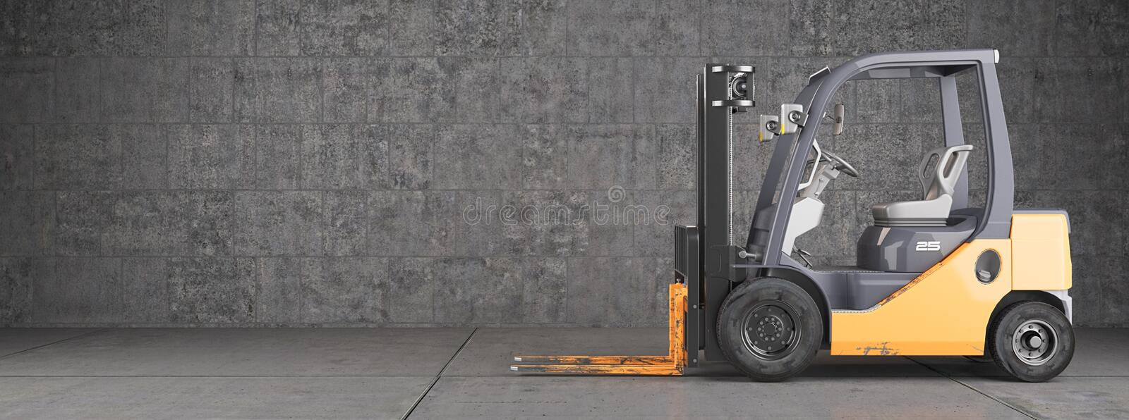 Forklift truck on industrial dirty wall background stock photography