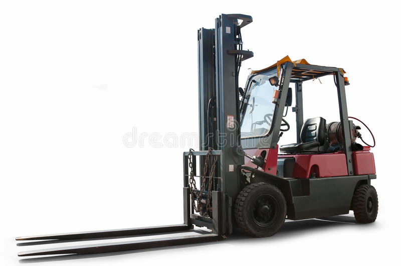 Forklift truck isolated stock image