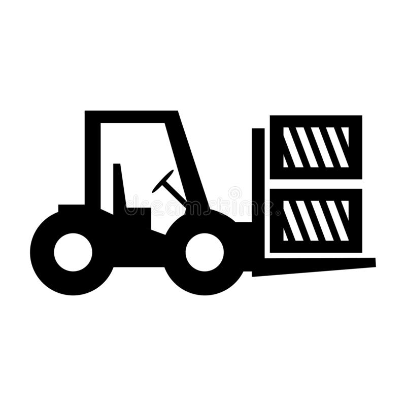Forklift truck loading the boxes. Illustration of forklift truck is raising a pallet - vector. Forklift truck loading the boxes. Illustration of forklift truck stock illustration
