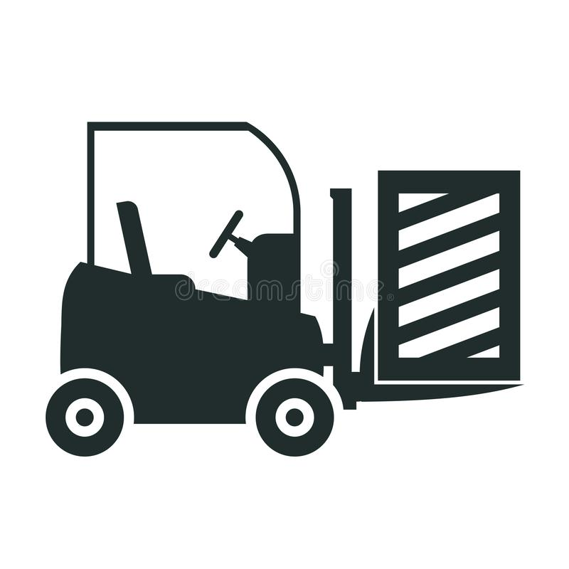 Forklift truck loading the boxes. Illustration of forklift truck is raising a pallet - vector. Forklift truck loading the boxes. Illustration of forklift truck royalty free illustration