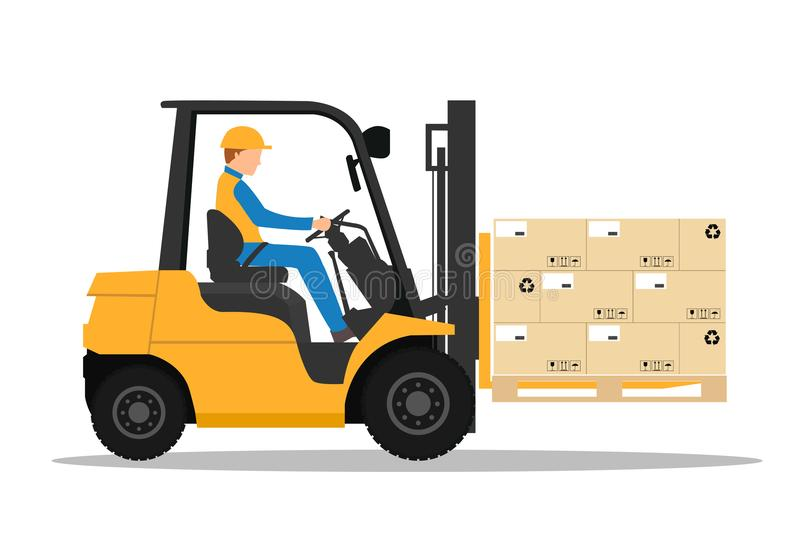 Forklift truck with man driving. vector illustration