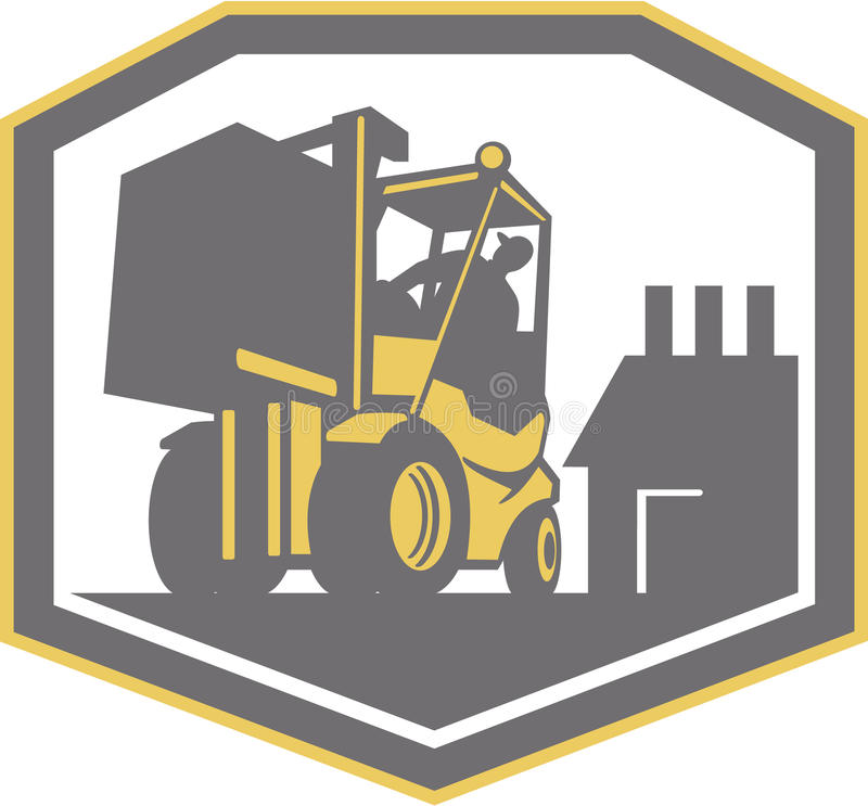 Forklift Truck Materials Handling Logistics Retro. Illustration of a forklift truck and driver at work lifting handling box crate with logistics warehouse vector illustration