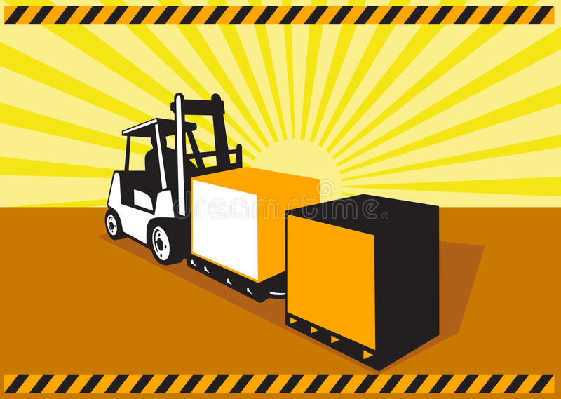Forklift Truck Materials Handling Retro. Illustration of a forklift truck and driver at work lifting handling box crate done in retro style with sunburst in vector illustration