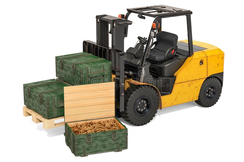 Forklift truck with military wooden ammunition boxes full of rifle bullets, 3D rendering stock illustration