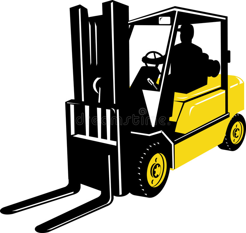 Forklift truck and operator royalty free illustration