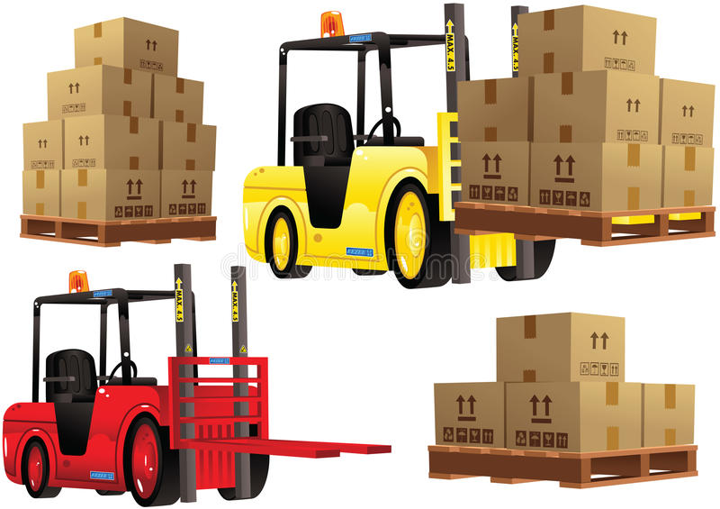 Forklift truck and pallets stock photos